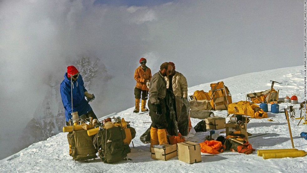 Members of a U.S. expedition team and Sherpas are shown with their climbing gear on Everest. The team, led by Jim Whittaker, reached the top on May 1, 1963, becoming the first Americans to do so.