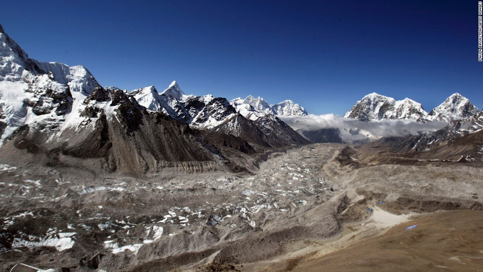 On April 5, 1970, six Sherpas died in an avalanche at the Khumbu Icefall. The icefall, at the head of the Khumbu Glacier, seen here in 2003, is one of the more treacherous areas of the ascent.