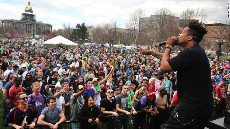 Zion I performs at Denver's festival on April 19.