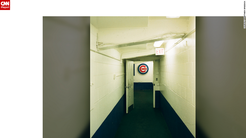 This is a behind-the-scenes photo of the hallway leading to the Cubs locker room.
