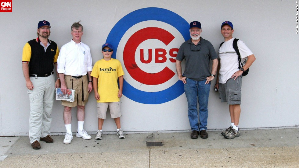 "<a href=""http://ireport.cnn.com/docs/DOC-1119043"">Robert Ondrovic</a>, far left, has been touring baseball parks for 25 years. Here, he visits Wrigley in 2006 with friends."