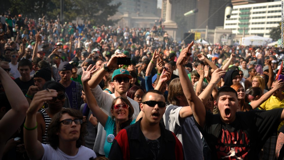 Marijuana smoke fills the air at 4:20 p.m. in Civic Center Park in Denver on April 20.