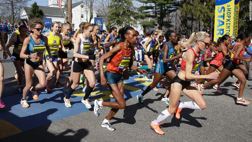 Elite female runners start their run in Hopkinton.