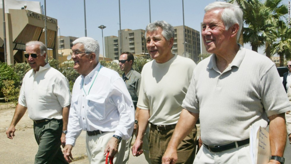 Biden, far left, walks toward the Palestine Hotel in Baghdad in June 2003. As chairman of the Senate Foreign Relations Committee, he made several international trips with Republicans, including from right Sens. Richard Lugar and then-Sen. Chuck Hagel.
