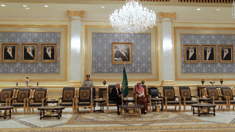 Biden meets with Saudi Foreign Minister Prince Saud Al-Faisal after arriving in Riyadh on October 27, 2011.