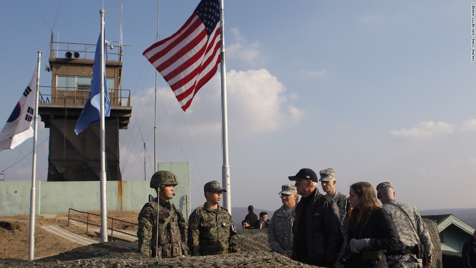 Biden and his granddaughter, Finnegan, visit Observation Post Ouellette at the Demilitarized Zone between North and South Korea on December 7, 2013.