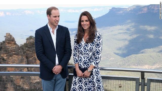 KATOOMBA, AUSTRALIA - APRIL 17:  Prince William, Duke of Cambridge and Catherine, Duchess of Cambridge pose for a photograph at Echo Point with the Three Sisters Rocks in the background in the Blue Mountains on April 17, 2014 in Katoomba, Australia. The Duke and Duchess of Cambridge are on a three-week tour of Australia and New Zealand, the first official trip overseas with their son, Prince George of Cambridge.