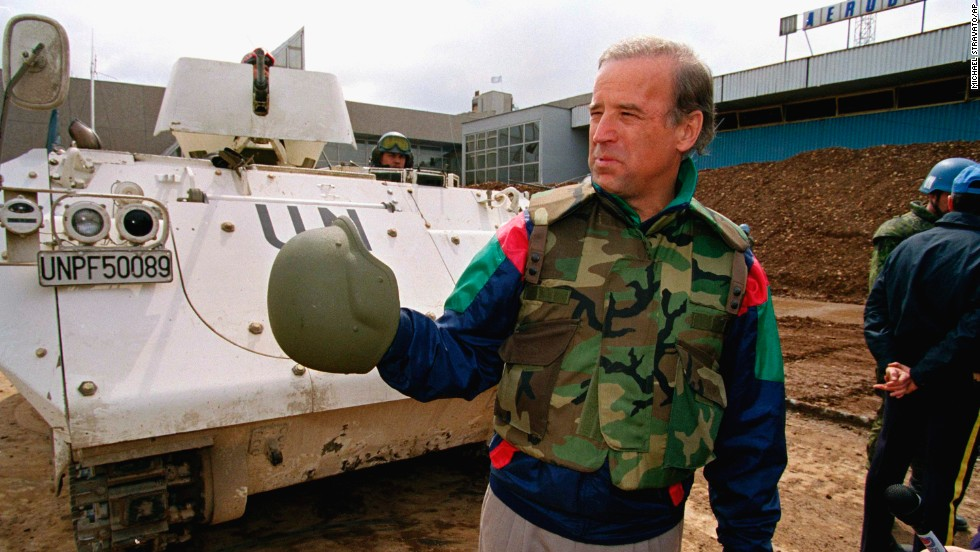 Then-Sen. Biden stands in front of a Danish armored personnel carrier at the United Nations-controlled Sarajevo Airport on April 9, 1993. As head of the Foreign Relations Committee, Biden was one of the leading voices pushing the international community to end the genocide in the Balkans.
