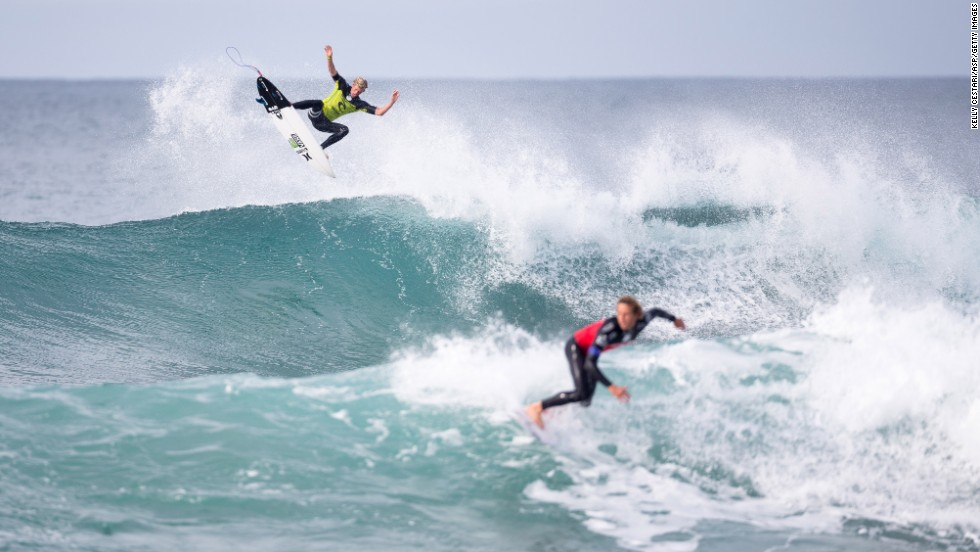 John John Florence of Hawaii advanced into the quarterfinals of the Rip Curl Pro Bells Beach on April 21 in Australia.
