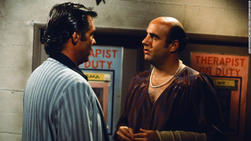 "Jeffrey Tambor (right, with Kiel Martin) made occasional appearances on ""Hill Street"" as the eccentric, cross-dressing Judge Alan Wachtel."