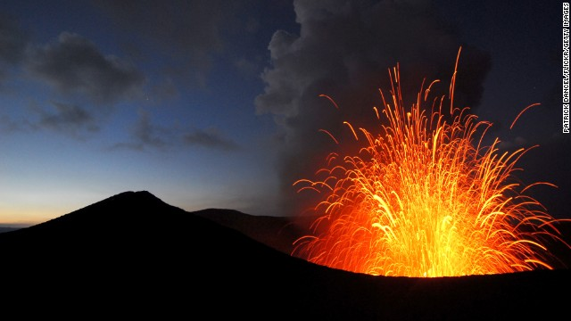 Volcanic eruption on Yasur volcano at dusk on island of Tanna, Vanuatu.