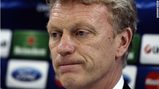 A file picture taken on February 24, 2014, shows Manchester United's coach David Moyes during a press conference at the Karaiskaki stadium in Athens.