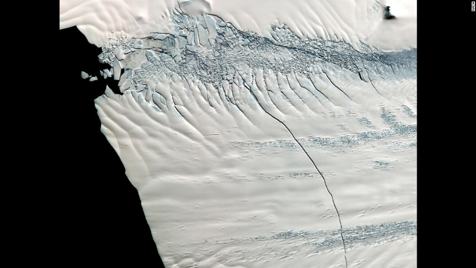 In mid-October 2011, NASA scientists working in Antarctica discovered a massive crack across the Pine Island Glacier, a major ice stream that drains the West Antarctic Ice Sheet.