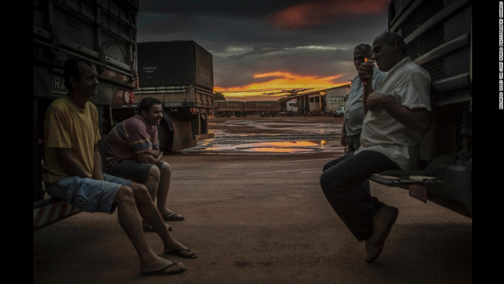 "Teles took this photo of truck drivers picking up soya shipments in Campo Novo do Parecis. ""The truck drivers face a long journey of 1,200 miles to the ports,"" he said."