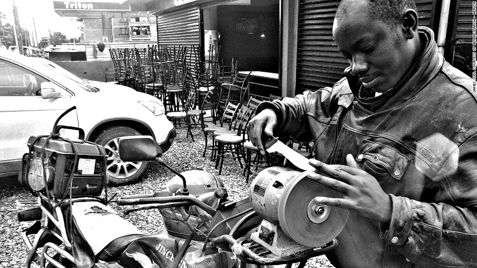 This image of a mobile knife-sharpening business in Kenya -- one of the many micro-companies that make up the African economy -- highlights the continent's entrepreneurial spirit.