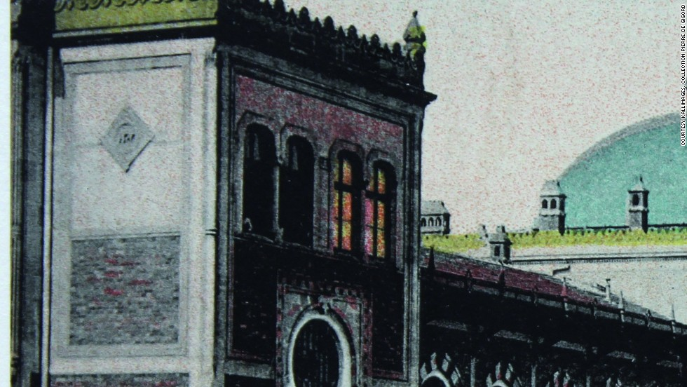 "Travelers would often send postcards from exotic locations, such as this one which shows the Sirkeci Station, the terminus of the Orient Express on the western shore of Istanbul. The train inspired some of the most illustrious artists of the era -- Agatha Christie was a regular and set her famous 1934 novel ""Murder on the Orient Express"" almost entirely inside its carriages."