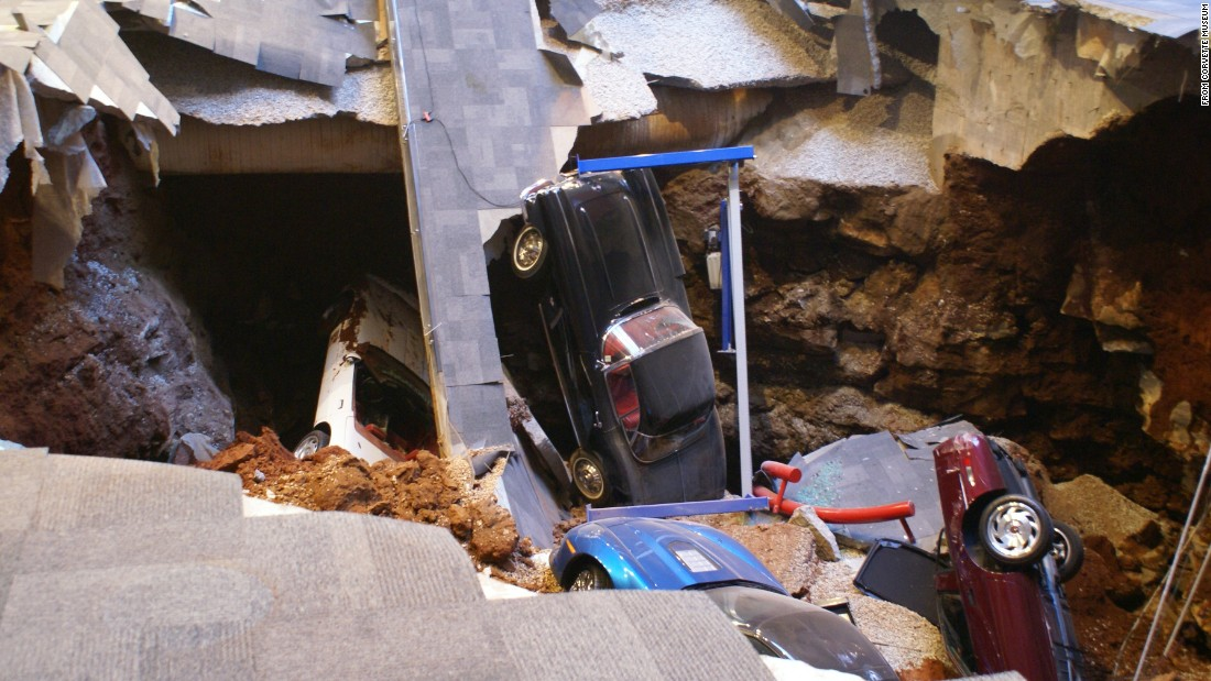 Here's the sinkhole that swallowed eight prized Corvettes inside the museum's Skydome hall, on February 12, 2014.