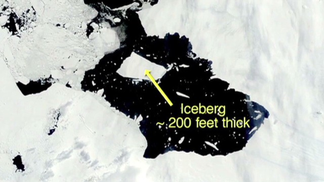 Watch giant iceberg form