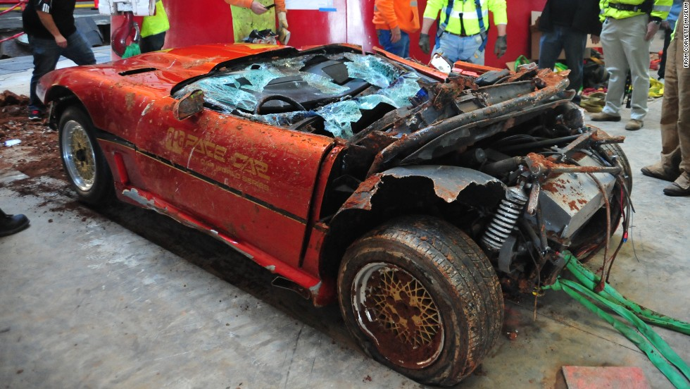 After workers hauled the PPG from the hole, it became apparent the Corvette had been chopped by a large slab of concrete, according to GM. This photo shows that its rear panels have gone missing.