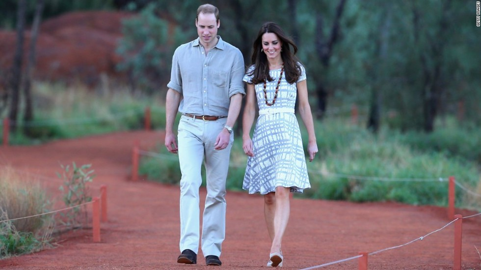 Kate picked one of her old favorites, a $60 Wessex dress from Hobbs, for a walk around the base of Australia's iconic Ayers Rock. It would have sold out had it not already done so  when she wore it while playing table tennis in the run up to the Olympics last year.