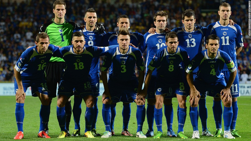 Bosnia pose for a team photo before kick off. A win against the Slovaks will book a place in Brazil after narrowly missing out for the 2006 and 2010 World Cup finals.