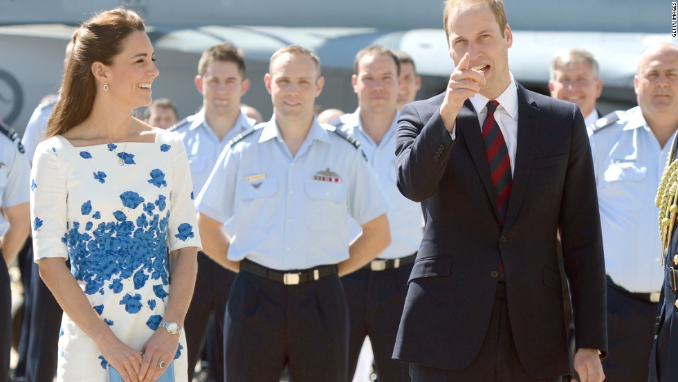 London-based upscale fashion brand L.K. Bennett also benefited from the royal touch, when the Duchess appeared the following day at the Royal Australian Airforce Base, Amberley, in a pretty blue and white floral number.