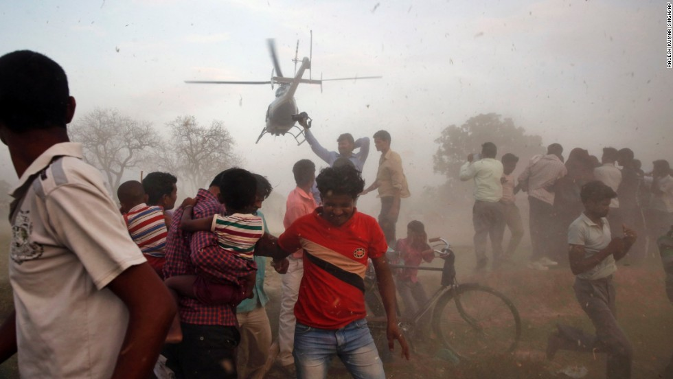 A helicopter carrying Nagma, a Bollywood actress and Congress Party candidate from Meerut, takes off after an election rally on April 17.