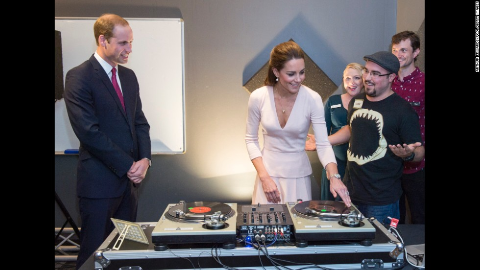 Catherine plays on DJ decks at a youth community center on Wednesday, April 23, in Adelaide, Australia.