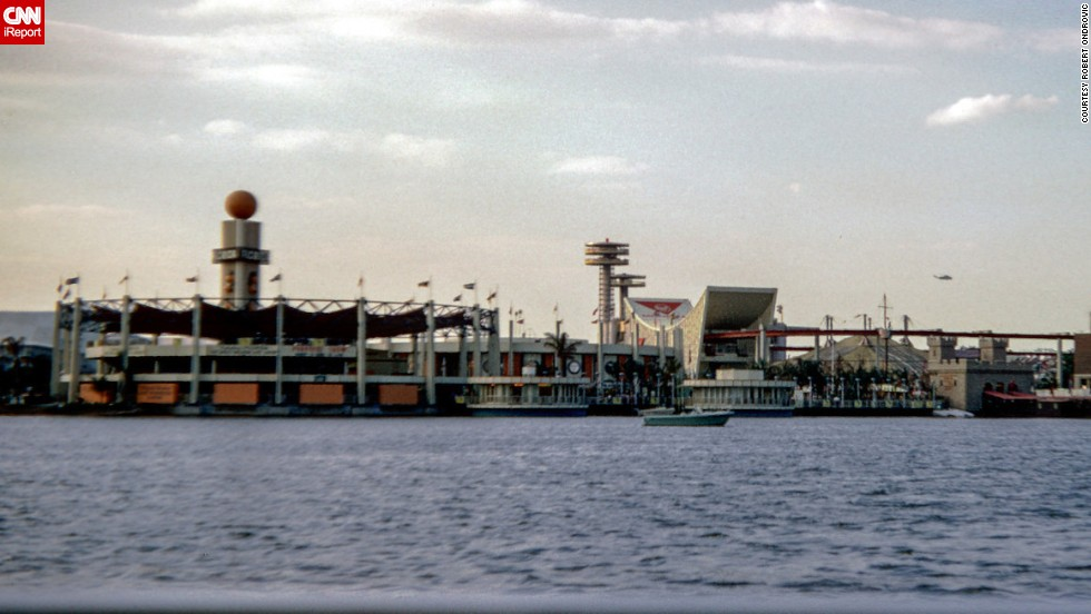 A view of the fair from across the lagoon.