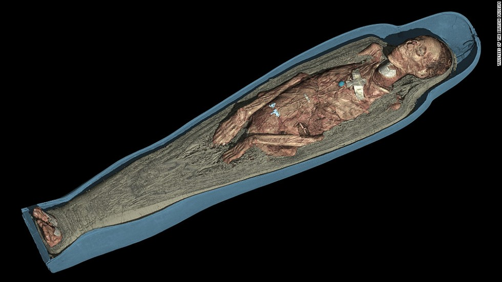 Thanks to the 3-D visualization software, researchers were able to see the placement and detail of the amulets that decorated Tamut's corpse for the first time.