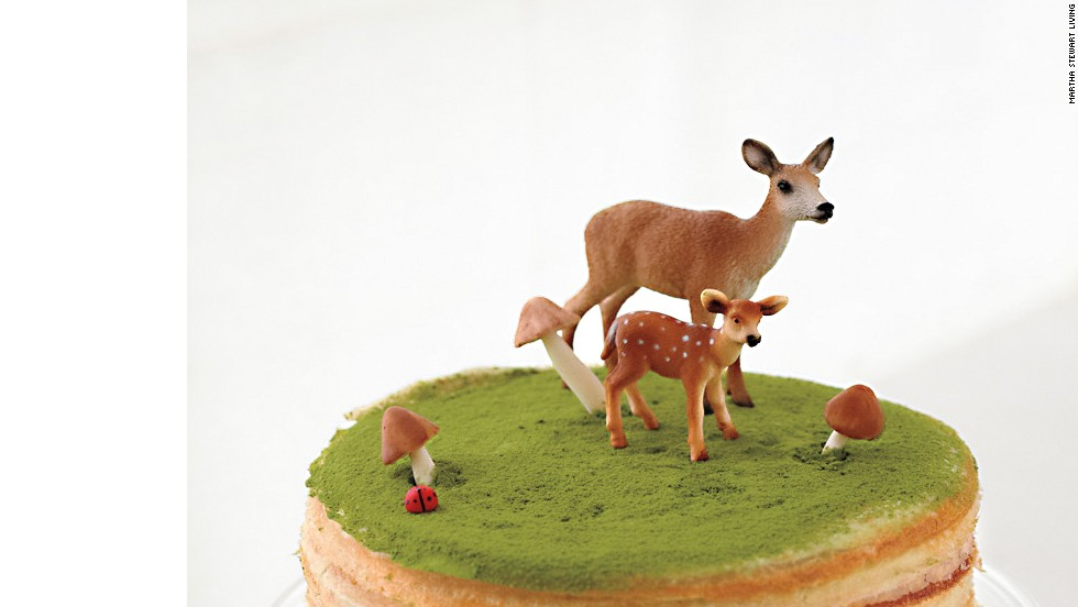 At this Martha Stewart staffer's baby shower, cakes were topped with miniature plastic deer for a hit of wildlife whimsy.