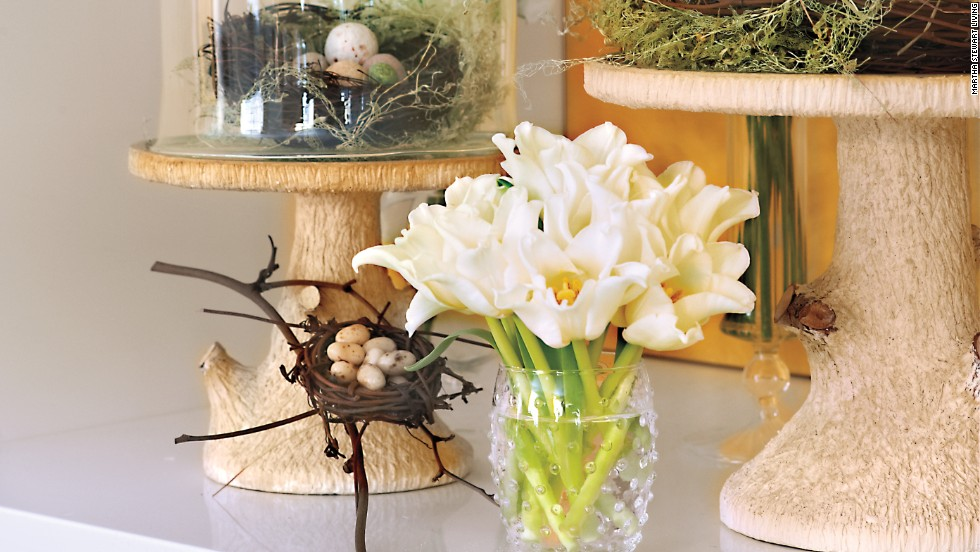 Miller decorated the event with flora-and-fauna vignettes using birds' nests, candy eggs, cloches and faux bois pedestals.