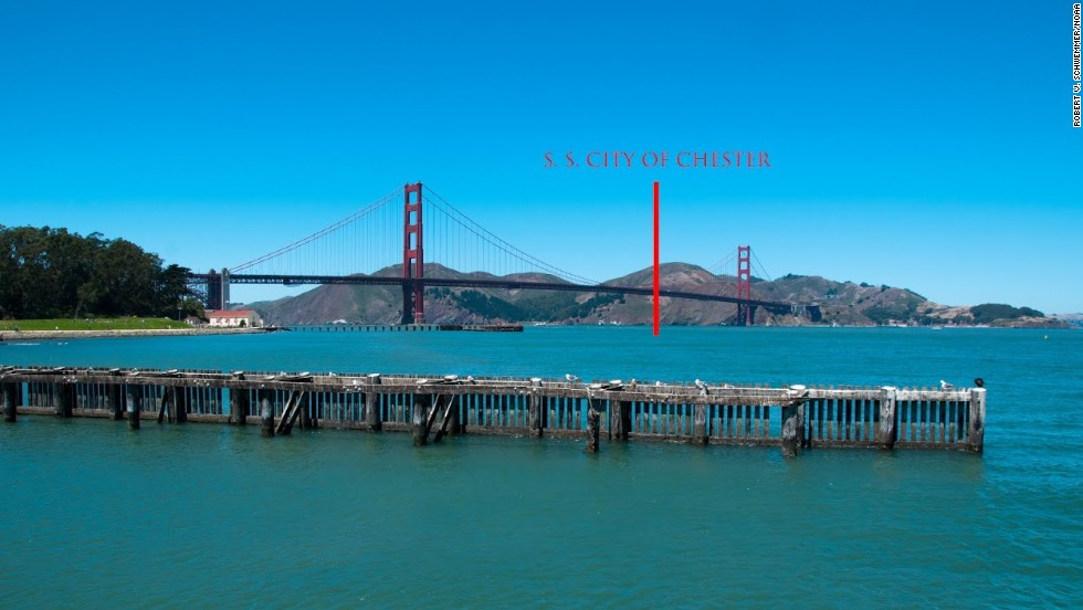 A view of the Golden Gate Channel and approximate location of where the ship was found.