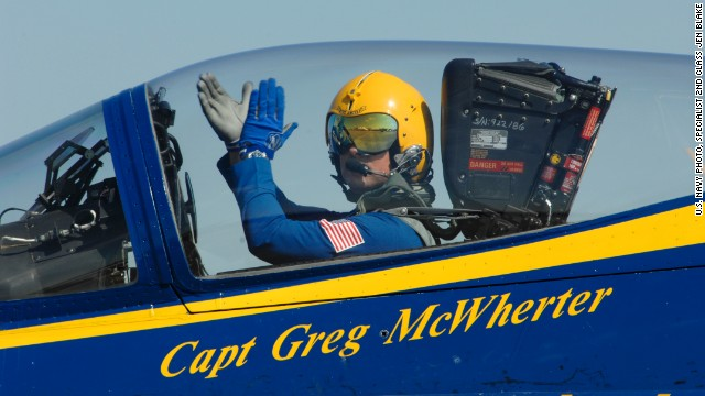 Capt. Greg McWherter, who was then commanding officer of the Blue Angels, performs in an air show in Lincoln, Nebraska, on September 10, 2011.