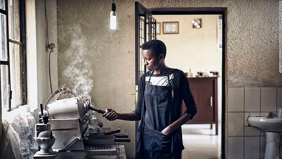 Food and travel photographer Jonathan Gregson's image of a coffee roaster in Rwanda won for Food and Its Place.