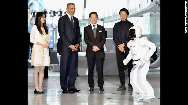 U.S. President Barack Obama watches Honda Motor Co humanoid robot ASIMO on April 24 Tokyo, Japan.