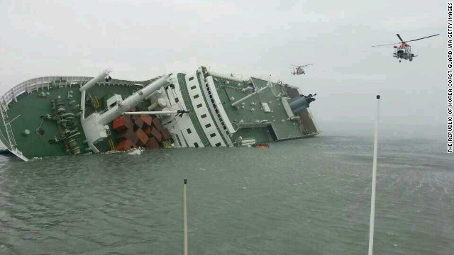 The passenger ferry Sewol sinks off the coast of Jindo Island on April 16, 2014 in Jindo-gun, South Korea.
