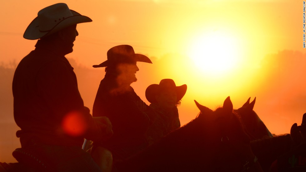 Worshippers join for a sunrise service at the No Fences Cowboy Church on Easter Sunday, April 20, in Falkville, Alabama.