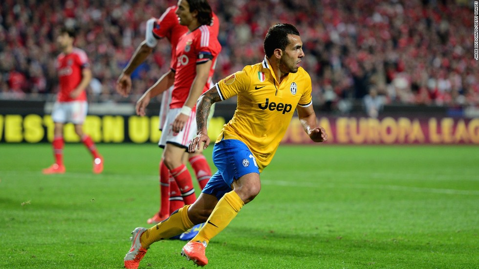 Carlos Tevez equalized for Juventus with a neatly-taken goal in the second half -- his first in Europe for five years.