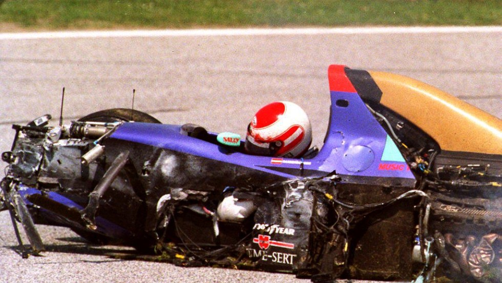 Ratzenberger crashed at about 200 mph during qualifying for the San Marino Grand Prix at the Imola race track and died as a result of his injuries.
