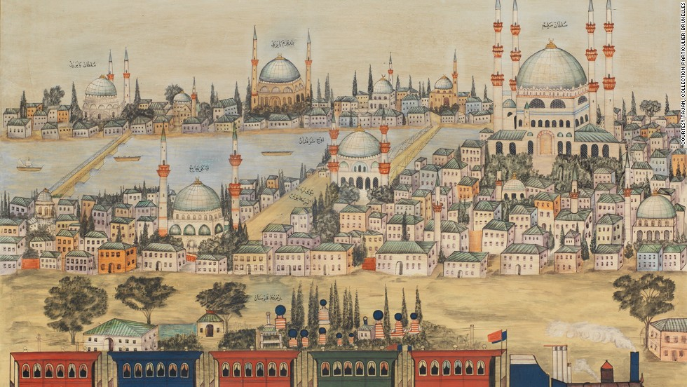 This painting commemorates the creation of the first railway line in Turkey in 1876.