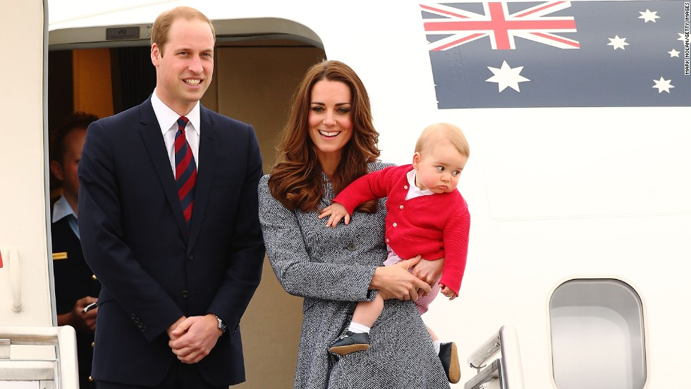 The royal family leaves an airbase in Australia to head back to the United Kingdom in April 2014. They took a three-week tour of Australia and New Zealand. It was their first official trip overseas since George's birth.