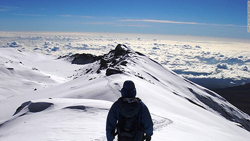 Africa's great dormant, snow-capped volcano is known for its high-altitude flora and equatorial glaciers.