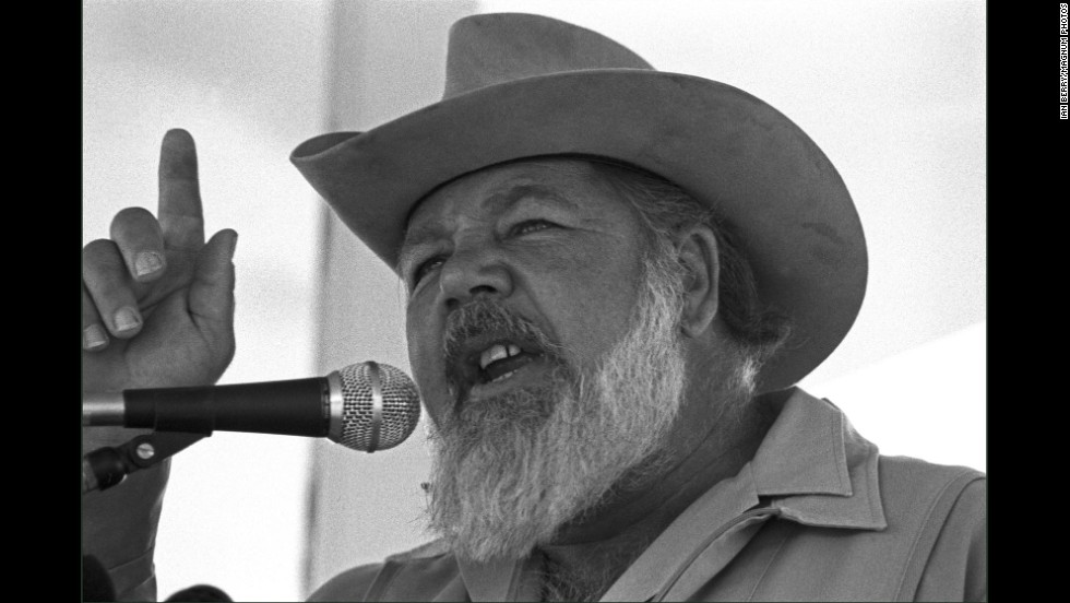 Eugene Terre Blanche, leader of the all white AWB (Afrikaner Resistance Movement) party addresses a rally of his supporters.