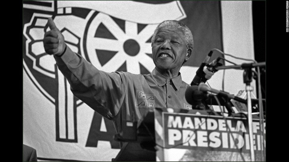 Mandela speaks before the elections that brought him to power.