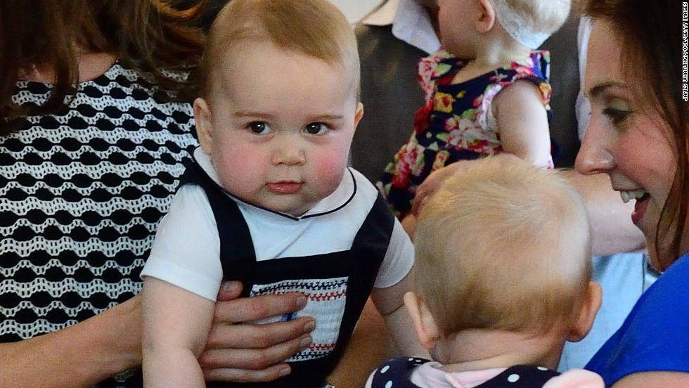 Prince George has cheeky look during a play date in Wellington..