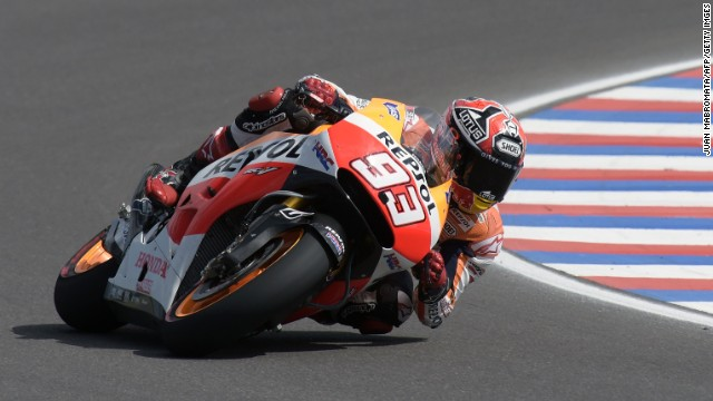 Spanish biker Marc Marquez rides his Honda during at the Termas de Rio Hondo circuit, in Santiago del Estero, Argentina.