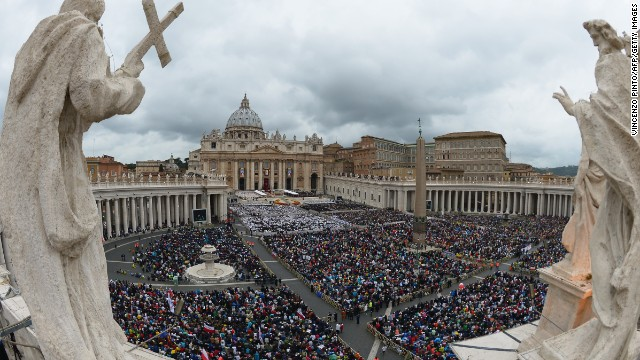 A large crowd gathered for the canonisation mass of Popes John XXIII and John Paul II on St Peter's square at the Vatican on April 27.