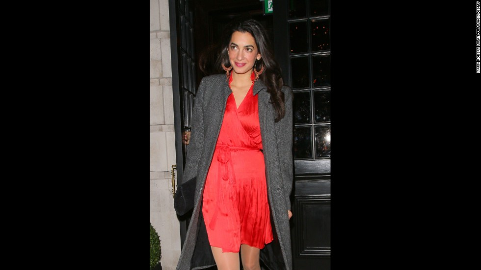 Alamuddin departs Berners Tavern in London on October 24.