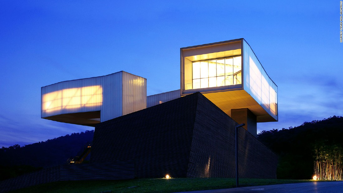Billionaire Chinese businessman Lu Jun asked 20 of the world's leading architects and artists to design buildings for Sifang Art Park. This building was designed by New York architect Steven Holl and houses the main art collection.
